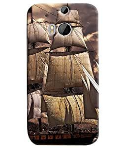 Blue Throat Old Boats Effect Printed Designer Back Cover For HTC One M8