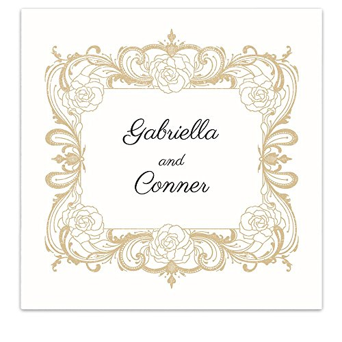 Rose Floral Frame Crest Personalized Beverage Cocktail Ooh La Color Napkins - 100 Custom Printed Paper Napkins (1036019U)