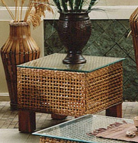 Image of Hospitality Rattan 610-1233-NAT-ET Pegasus Rattan/Wicker End Table in Natural with Glass 610-1233- (610-1233-NAT-ET)