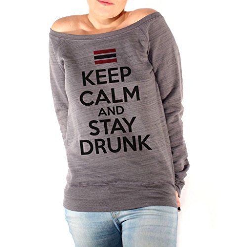 Felpa Fashion KEEP CALM AND STAY DRUNK - DIVERTENTE by Mush Dress Your Style - Donna-XL-Grigio scuro marmorizzato