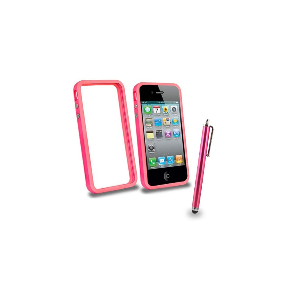 Mobile Palace  Pink bumper case cover with pink stylus for iphone 4s