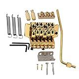 Yibuy 6弦 エレキギタートレモロブリッジダブルロックシステム ゴールド