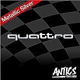 Audi Quattro Badge Emblem Vinyl Decal Car Sticker (Metallic Silver)