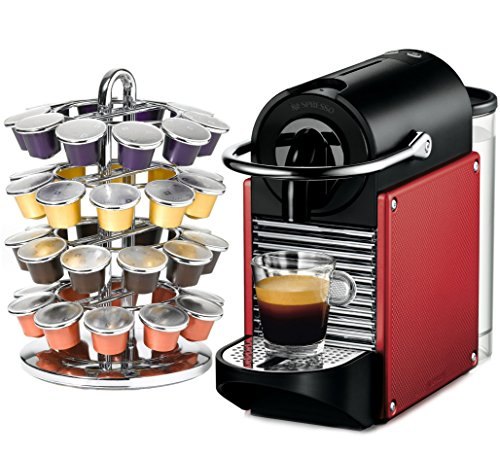 Nespresso Pixie D60 Dark Red Espresso Machine Plus Bonus Coffee Carousel