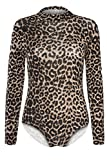 Oops Outlet Women's Turtle Polo Roll Neck Stretchy Leotard Bodysuit Plus Size (US 14/16)Leopard Brown