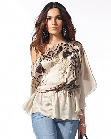 bebe.com Panther Silk Batwing Top  from bebe.com