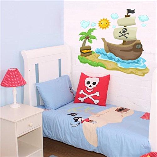 bateau-pirate-soleil-nuages-palm-sticker-mural-sticker-mural-nursery-stickers-muraux-pour-enfant-mul
