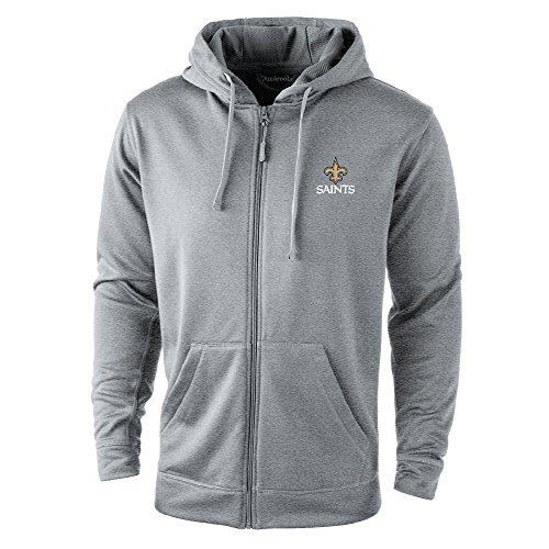 NFL Orleans Saints Trophy Tech Fleece Full Zip Hoodie, Small, Grey by Dunbrooke Apparel