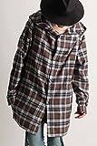 (バレッタ) Valletta ネルチェック パーカー ロングコート フード シャツ ジャケット ミドル丈 メンズ ストリートモード カジュアル 31ブラウン×ネイビー Mサイズ