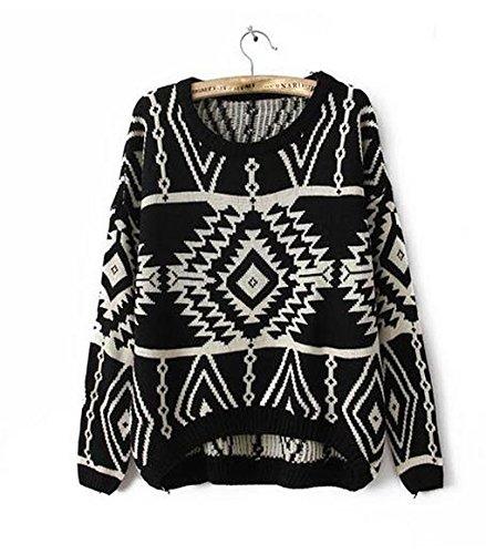 YouPue Retro Maglia Maglione Pullover Donna Motivi Geometrici Manica Lunga Girocollo Sweatshirt Tops Blouse Felpa Casuale Nero