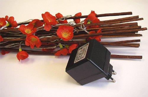 Deko Lichterstrauch beleuchtete Blumenzweige 110cm Rot