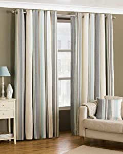 Davenport Blue Cream 66x90 Striped Lined Ring Top Curtains #yawdaorb *riv* from PCJ Supplies