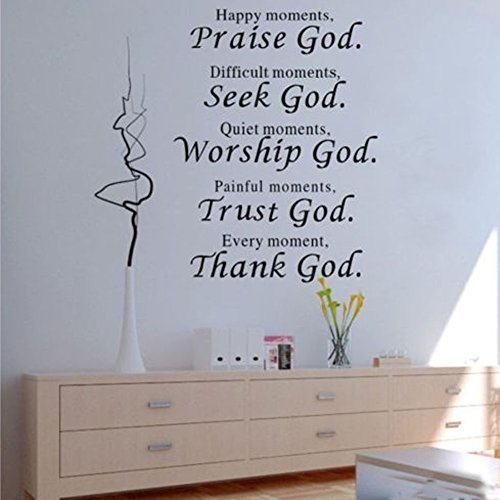 1 X Wall Vinyl Decal Quote Sign Christian Praise God DIY Art Sticker Home Wall Decor (Removable Wall Stickers compare prices)