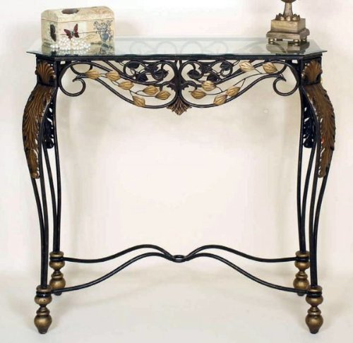Image of Passport By Mario Sophia Metal console table with glass top (B005K8QP56)