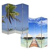 Mendler Paravento divisore doppia immagine 4 pannelli M68 180x160cm spiaggia