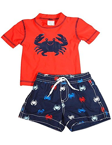Carters - Baby Boys 2 Piece Spf 50 Crab Swimsuit Set, Red, Navy 35729-18Months front-139708