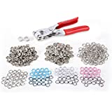 100pcs boutons pression 9,5mm 5 claw (3,5mm) oeillet 4 couleurs+ 1 pince