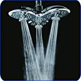 "A-Flow™ Luxury Large 8"" Showerhead with 3 Powerful Multi-Directional Massaging Water Jets / 3 Functions; Rain, Water Jets, Rain & Water Jets / Chrome Finish / Enjoy an Invigorating & Luxury Spa-like Experience - LIFETIME WARRANTY"