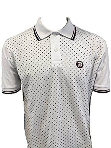 trojan-records-mens-tr-8179-dot-front-pique-polo-shirt-white-m