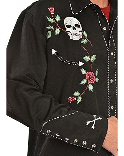 Scully Men's Skull And Roses Embroidered Retro Western Shirt Big - P-771 Blk_X 3