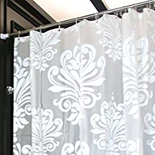LynnWang Design 72x72 Inch PVC FREE Shower Curtain or LinerWhite FloralWith 12 Hooks 100 EVA