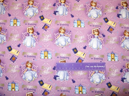 """43"""" Wide Princess Sofia The First Cotton Fabric BY THE HALF YARD"""