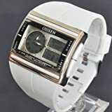New OHSEN White Analog Digital Quartz Day Date Womens Wrist Rubber Band Sport Watch W016W