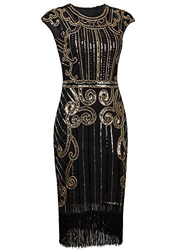 Vijiv 1920s Vintage Inspired Sequin Embellished Fringe Long Gatsby Flapper Dress Glam Gold X-Small