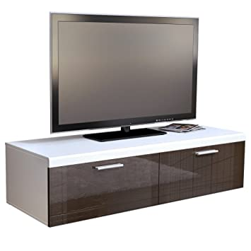 meuble tv bas atlanta en en blanc mat chocolat. Black Bedroom Furniture Sets. Home Design Ideas