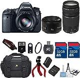 Canon EOS 6D 20.2 MP CMOS Digital SLR Camera + Canon EF 50mm f/1.8 II Lens +75-300 Zoom Lens + 64GB In Memory + Accessory Bundle - International Version