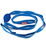 Peace Yoga - Durable 7ft Cotton Yoga Stretching Exercise Strap Band with Multiple Grip Loops - Blue