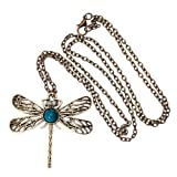 Vintage Art Deco Style Bronze Chain Fashion Necklace Dragonfly Pendant By VAGA®