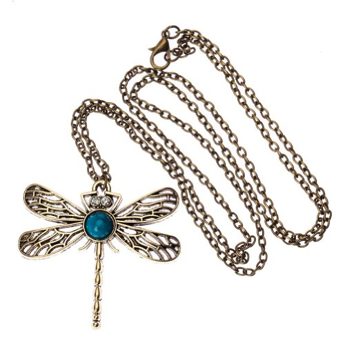 Vintage-Art-Deco-Style-Bronze-Chain-Fashion-Necklace-Dragonfly-Pendant-By-VAGA