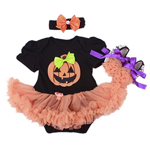 Yanzi6 Baby Girls' 1st Halloween Pumpkin Costume Newborn Party Tutu Dress 3pcs