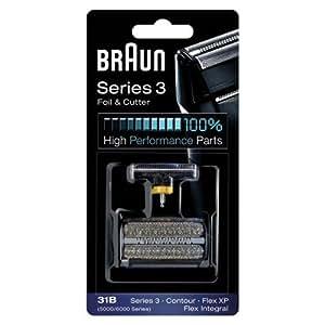 Braun - Combi-Pack 31B - Recharge Grille + Couteaux pour Rasoirs Anciens Séries 3 / Contour / Flex XPII / Flex XP / Flex Intégral Noir