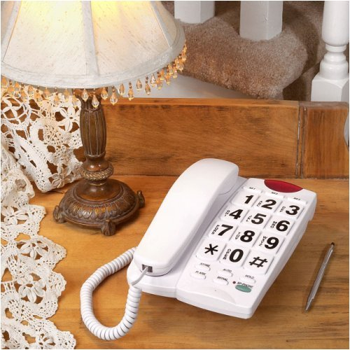 Big Button Corded Speakerphone with 13 Number Memory (White)
