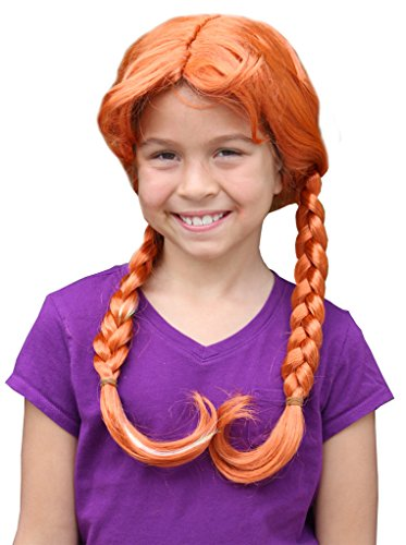 Child's Auburn Ice Cold Princess Wig With Two Braids and Silver Streak