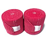 Russian Knee Wraps With Velcro For Weightlifting, Crossfit (Light Red And White)