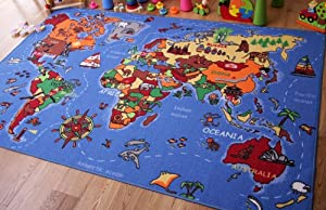 Educational FUN Colourful World Map Countries & Oceans Kids Rugs from The Rug House