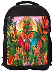 Snoogg Digital Bird Graphic Backpack Rucksack School Travel Unisex Casual Canvas Bag Bookbag Satchel