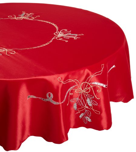 Lenox Holiday Nouveau Tablecloth, 70-Inch Round, Red front-869863