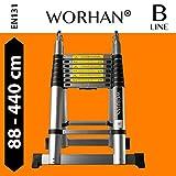 WORHAN® 4.4m (14' 4'') Double Telescopic Foldable Extendable Multipurpose Aluminium A Frame Robust Ladder Step Ladder (.....4.4m B-line) K4.4B