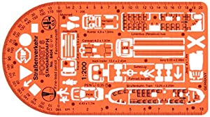 Metric Traffic Road Accident Scene Drawing Drafting Template Stencil