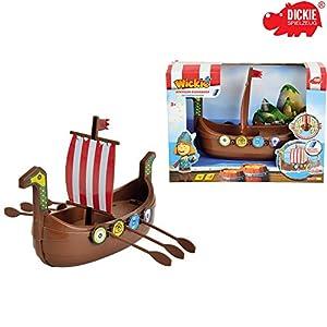 Dickie Wickinger Boot, Wickie, batteriebetrieben mit beweglichen Rudern, 20 cm || Spielzeug Ruderboot Wickingerschiff Drachenboot