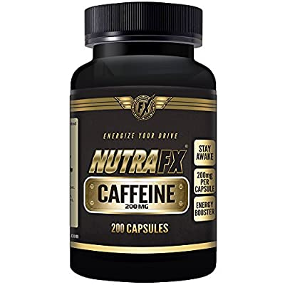 Nutrafx Caffeine Pills | BULK SUPPLY | 200 capsules MAXIMUM LEGAL CAFFEINE | COMPARE TO 4 CUPS COFFEE | 200 mg (Anhydrous)