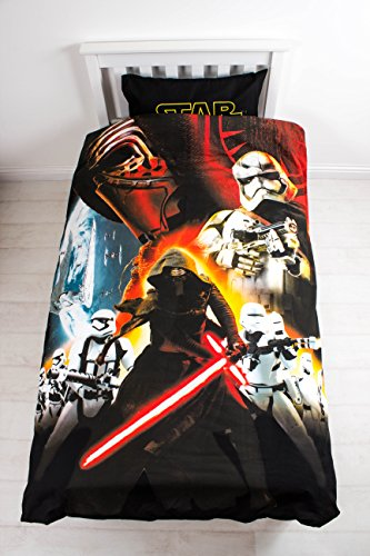 Character World Star Wars - The Force Awakens Set Copripiumino Reversibile e Copricuscino, Cotone/Poliestere, Nero/Rosso, 135 x 200 cm