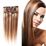 Crazy Queen Remy Human Virgin Hair Staight Hairpieces Wigs Clips in Hair Extensions Full Head 22 colors 15inch 12/613# Light Golden Brown Mixed With Light Blonde
