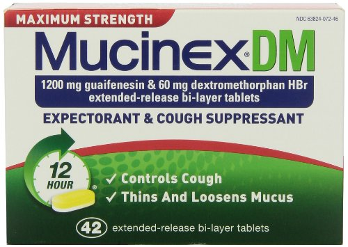 Mucinex DM Maximum Strength 12-Hour Expectorant and Cough Supressant Tablets, 42 Count