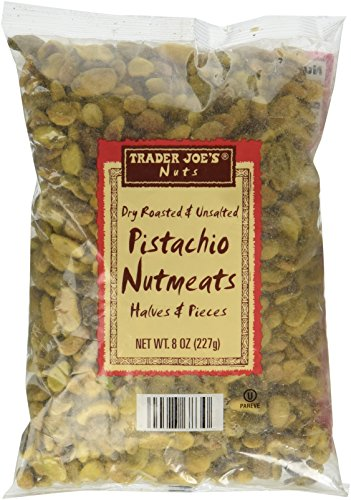 Trader Joe's Dry Roasted and Unsalted Pistachio Nutmeats Halves and Pieces, 8 oz (Roasted Unsalted Pistachios compare prices)