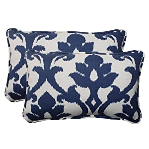 Pillow Perfect Indoor/Outdoor Bosco Corded Rectangular Throw Pillow, Navy, Set of 2 from Pillow Perfect